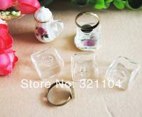 Free ship! 50sets/lot Square Glass Bubble & cuprum Ring setting NEW