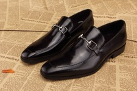 New 2014 spring black / brown brand mens oxfords slip-on genuine leather moccasins Italy style men dress shoes plus size39-45
