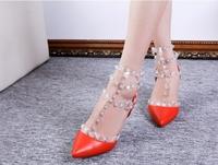 european   lady high heel sandal pointed toe  women wedding dress shoe  sexy transparent PVC crystal shoe party  eur size 34-39
