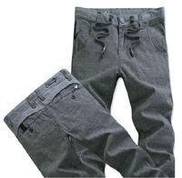 Cotton and linen men bound feet pants / gray slacks. / Linen Spring and Autumn Korean Slim tide big yards