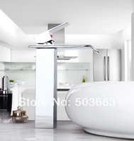 Construction Real Estate Fashion Tall Waterfall Bathroom Basin Sink Deck Mounted Chrome Ceramic Hole MF-1010 Tap Mixer Faucet