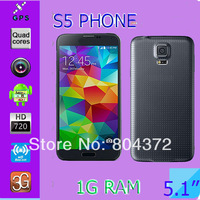 Full 1:1 Original Galaxy S5 phone I9600 phone For Samsung MTK6582 Quad Core Android 4.4.2 OS Original Logo under glass GPS Wifi
