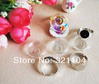 Free ship! 50sets/lot 20mm Glass Bubble & silvering Ring setting