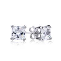 GNE0886 Fashion Jewelry Earrings 7*7mm Top Quality Free P&P 925 Sterling silver Jewelry Zircon Stud Earrings Gifts for Women