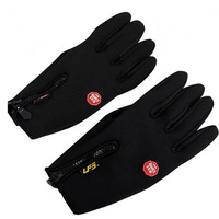 Free Shipping Windproof Cycling Bicycle Full Finger Leather Fleece Thermal Touch Screen Gloves Size L