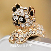 2014 New  Plating alloy Rhinestone  Jewelry Fashion Luxury Crystal  Gold Eve party mask Cell Phone Accessories Dust Plug