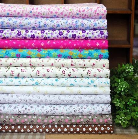 Sergé 13 pcs floralesaccepter 100% tissu de coton pour la couture patchwork patchwork tilda poupée. literie enfants bébé en tissu tissu 45cm*45cm