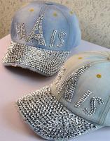 Denim diamond letter baseball cap outdoor sun-shading casual cap fashion spring and summer cap