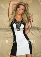 M L Plus Size 2014 New Arrival Fashion Summer Gauze Patchwork Dress Short Sequined Party Dress