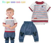 2014 wholesale korean New Summer Kids cartoon style cotton Clothing Set children stripe Garment  brand infant costumes 40400662