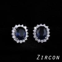 Plating 18K  Rhodium 2014 Luxurious Blue Gem Zircon Crystal Earrings Jewelry !  Elegant Wedding Micro inlays stud Jewelry  M11