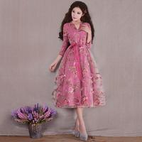 Zy2014 spring female sweet elegant organza patchwork dress women's dress