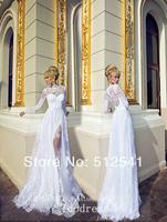 2014 White Long Sleeve Wedding Dresses Sheath Sweetheart Lace Side Split Chiffon Bridal Gown yk8R880