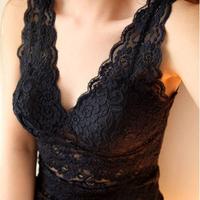 2014 Sexy Womens Sleeveless Tank Tops V-Neck Vest T-shirt Lace Hollow out Design Blouse + Bra Spaghetti Strap Belt Pad Underwear