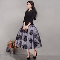 2014 women's vintage print elegant Swing hem A-line skirt lady's skirt