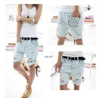 2014 Fashion Dog Pattern Embroidery Pocket Lady Lace denim Jeans short Women Hole Denim Short Pants