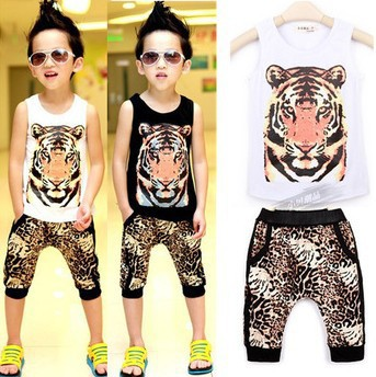 Retail New 2014 summer Baby boys clothing set Tiger vest