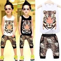 Retail !New 2014 summer Baby boys clothing set  Tiger vest+Leopard Hip hop short pants 2 pcs suits ST104