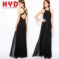 2014 High quality chiffon fashion sleeveless black maxi dress,womens female full dress backless bandage clothing