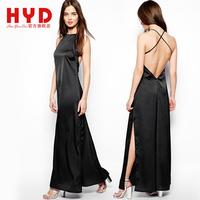 Professional Womens Black Evening maxi Dresses cross fashion spaghetti strap Side Slit Open long dress summer