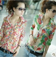 Free Shipping 2014 New Pattern Summer Floral Print Shirt Female  Chiffon Long sleeve Slim High Quality Version China Wholesale