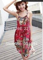 Plus size tank dress suspender one-piece dress bohemia national trend lantern suspender beach dress