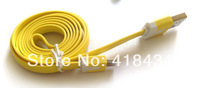 1m 3ft Flat Noodle Micro USB Data Cable Charger Charging Cable V8 for Samsung Galaxy S Nokia HTC Phones 500pcs