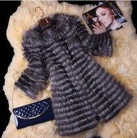 Hot Sale! 2014 New Spring Women Genuine Silver Fox Fur Coats Jackets Natural Fur  Waistcoats Women's Fur Fashion Striped Style