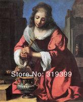 100% handmade Linen Canvas Oil Painting Reproduction,saint-praxedis by Johannes Vermeer,Free FAST Shipping