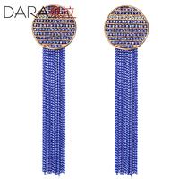 Blue tassel earrings drop earring long paragraph female bohemia accessories