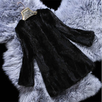 2014 New Spring Natural Women  Mink Fur Coat Real Mink Fur Outerwear Fashion Long Coats Jackets Warm Winter Plus Size