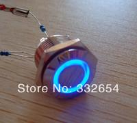 10pcs/Lot 16mm mounting Momentary Illuminated Metal Push Button Switch Ring LED