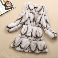 High Fashion 2014 New Women Natural Fur Coat Genuine Real Fox Fur Coats Jacket Women's Outerwear Parka Slim Long Overcoat