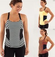 Wholesale Brand Women's Lulu Yoga Active Camis Fashion Stripe with Bra Sports Tees Cheap Casual Workout Lady's Tanks Size:XXS-XL