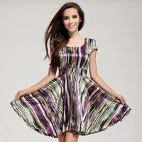 2014 New Silk Satin Material Slim Waist O-neck Short-sleeve Stripe Expansion Bottom Dress Sexy Women Dress Pure Silk Satin Dress