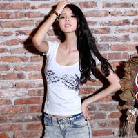 Attitude krazy2013 t black and white color block skull pattern short-sleeve slim t-shirt female 6039