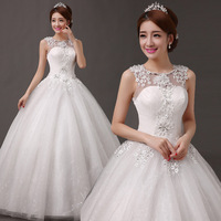 Free shipping NEW DESIGN Sleeveless sheer neckline embellished crystal beads lace low back wedding dresses bridal dress V582