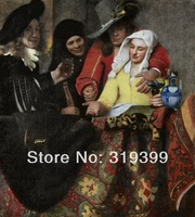 100% handmade Linen Canvas Oil Painting Reproduction,the-procuress-1656 by Johannes Vermeer,Free FAST Shipping
