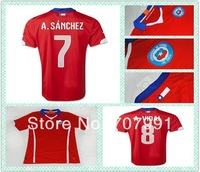 2014 WC Top Thailand Quality Chile A.sanchez Alexis A.vidal Home Red Football Soccer Jerseys Uniforms Shirts Kits Embroidery