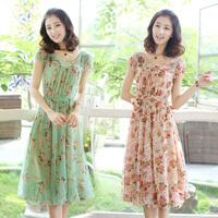 Summer Dresses Casual Sweet Chiffon Beach Dress Short-sleeve Plus Size 2014  Flower Print High Waist Chiffon Sweet Floral Dress