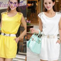 2014 New Spring Summer Dress Women Vestidos Chiffon Casual Rivet O Neck Candy Color Sleeveless Mini A Line Dress PH1252