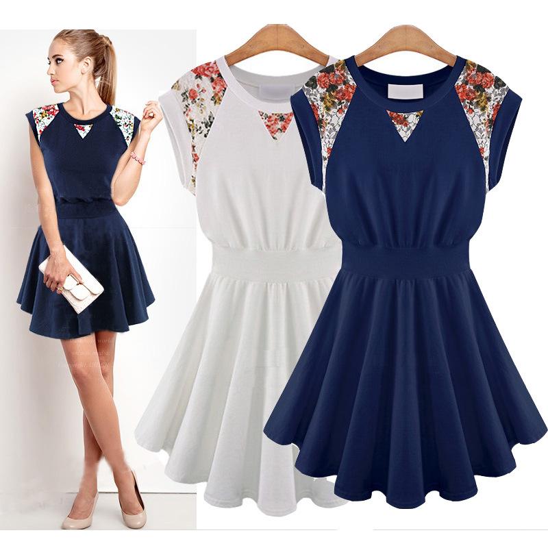 Milan Fashion ; women casual Big Hem sleeveless dress ; vintage chiffon flower lace dresses ; vestidos de festa ; ropa mujer(China (Mainland))