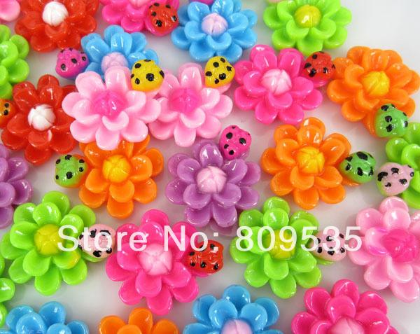 Free Shipping 100pcs Resin Flower Ladybug Flatbacks Cabochon Scrapbook Craft 22.0mm(China (Mainland))