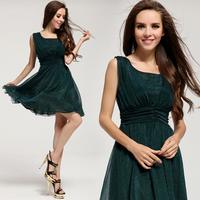 2014 New Women's Mulberry Silk Chiffon Expansion Dress Fashion Cascading Ruffle Ice Silk Dress Hot Selling Solid Vest Dress