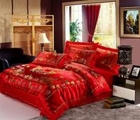 korean Wedding silks and satins jacquard lace mandarin duck bedding set 4pcs queen/king size comforter sets home bed sheet set