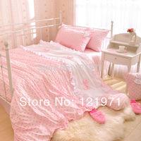 korean luxury dot princess bedding pink single bed sheet child set 100% cotton 4pcs twin/full/queen size comforter sets