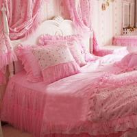 korean Princess bedding 100% cotton lace pink double bed skirt textile 4pcs set queen/king/full/twin szie comforter bedding sets