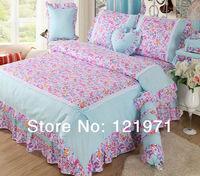 luxury Princess 4 pieces set 100% cotton duvet cover laciness korean bedding set  twin /full/queen /king size comforter sets