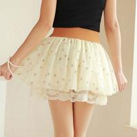 2014 polka dot lace bust skirt short skirt high waist pleated chiffon skirt female