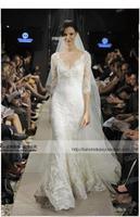 Famous designer style wedding dress court trailing sexy v-neck half-sleeved Slim word shoulder fishtail lace wedding dress